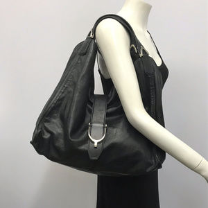 Gucci Large Blk Leather Hobo Bag Silver Horse Bit